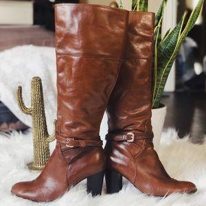 2adbac27904 Marc Fisher cognac Brown tall boots heel